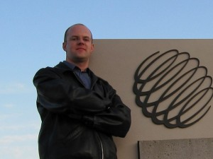 Me outside The Weather Network studios in Oakville