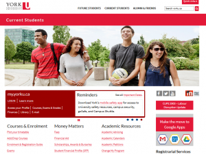 Current Students web page on York University website.