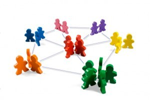 Image of colourful figures networking.