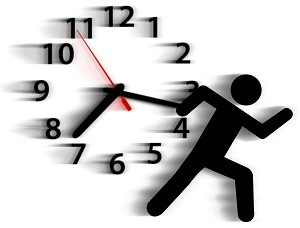 Stick figure running past a blurred clock