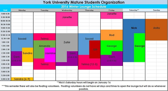 YUMSO Winter 2016 Office Schedule